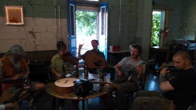 Tuesday night session in Marshall, NC at Goodstuff.  With Tim Potts of Noonday Feast playing guitar.